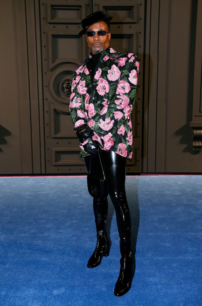 Billy Porter, leather pants, skinny black pants, mid calf boots, floral blazer, in the front rowRichard Quinn show, Front Row, Fall Winter 2020, London Fashion Week, UK - 15 Feb 2020