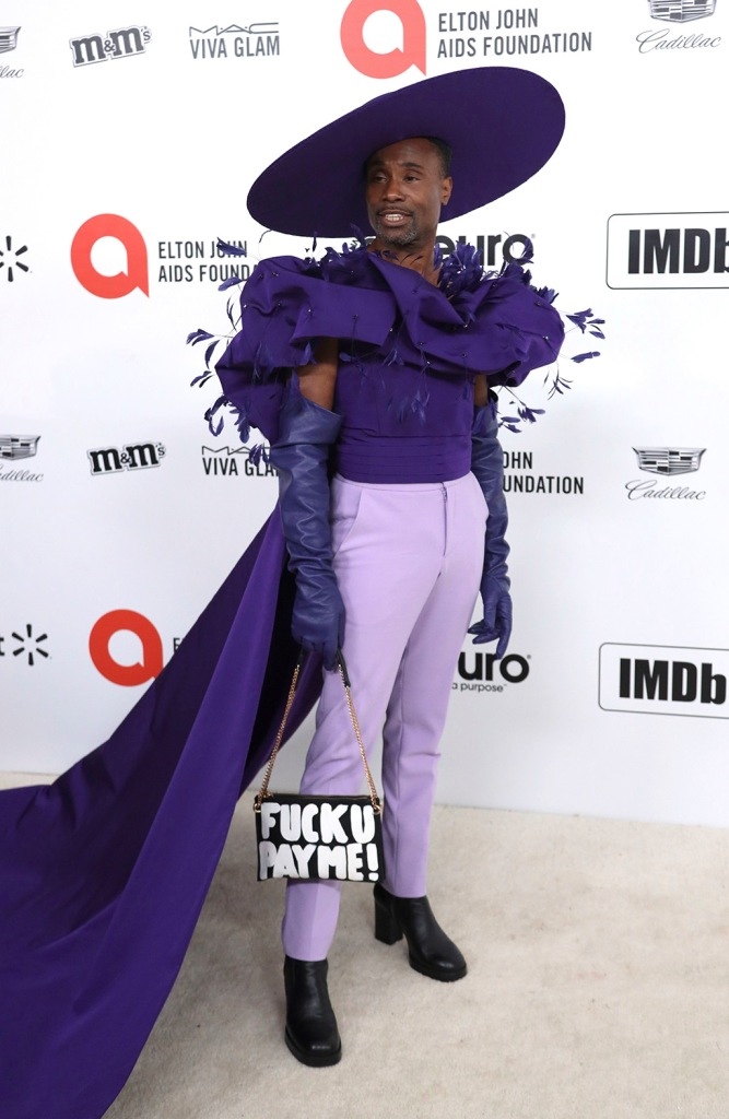 Billy Porter , christian siriano, purple, cape, fuck u pay me purse, wide hat, custom outfit, 2020 oscars, arrives at the 2020 Elton John AIDS Foundation Oscar Viewing Party, in West Hollywood, Calif2020 Elton John AIDS Foundation Oscar Viewing Party, West Hollywood, USA - 09 Feb 2020