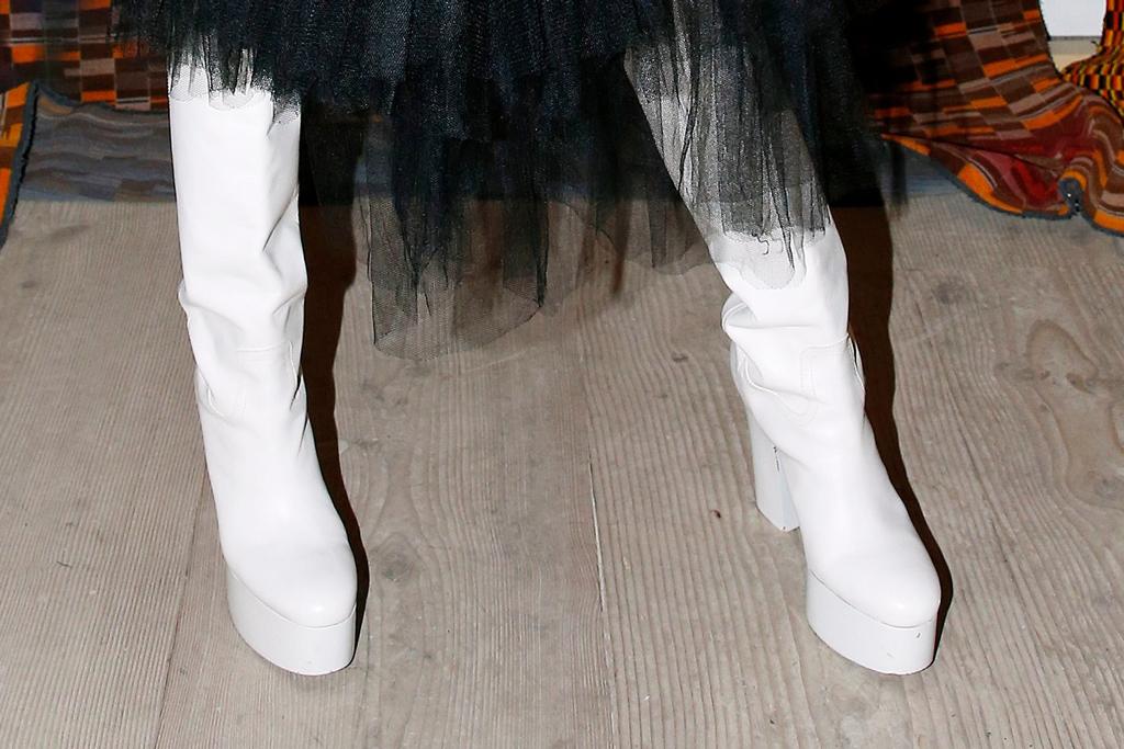 billy porter, white boots, coach platform shoes, matty bovan, fall 2020
