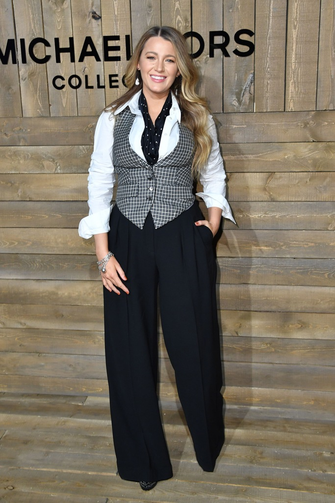 Blake Lively, checked vest, black and white outfit, wide leg pants, button down shirt, alaia platform boots, Michael Kors show, Arrivals, Fall Winter 2020, New York Fashion Week, USA - 12 Feb 2020Wearing Michael Kors