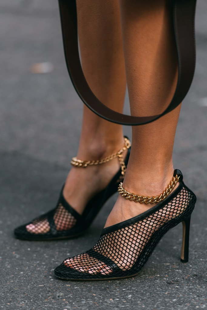 Bottega Veneta , mesh mules, street style, milan fashion week, shoe detail