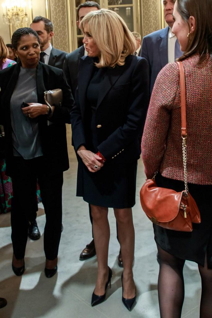 Brigitte Macron, celebrity style, little black dress, black blazer, louis vuitton eyeline pump, paris international agricultural show, elysee palace, paris