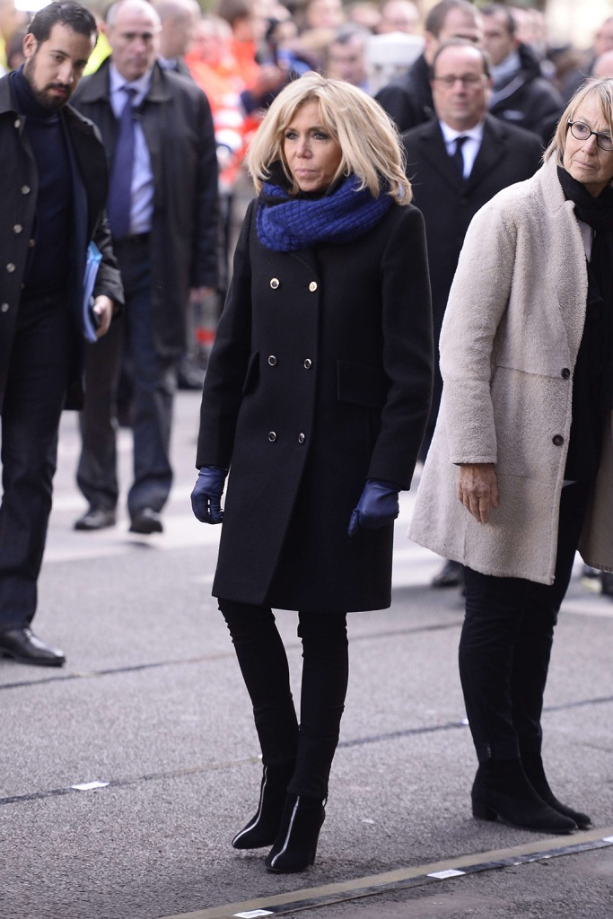 Brigitte macron, black coat, blue scarf, blue gloves, black skinny jeans, zip front boots, Trogneux in front of the Bataclan in Paris2nd anniversary of Bataclan terrorist attacks, Paris, France - 13 Nov 2017