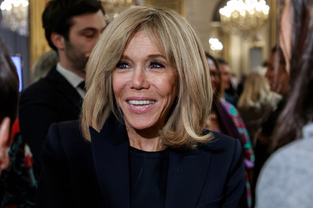 Brigitte Macron S Chic In Little Black Dress Pumps At Elysee Palace Footwear News