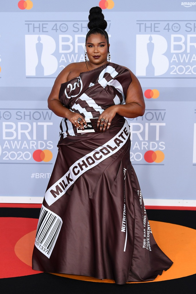 Lizzo, chocolate bar dress, 40th Brit Awards, Arrivals, Fashion Highlights, The O2 Arena, London, UK - 18 Feb 2020Wearing Moschino Same Outfit as catwalk model Jourdan Dunn *3588418b