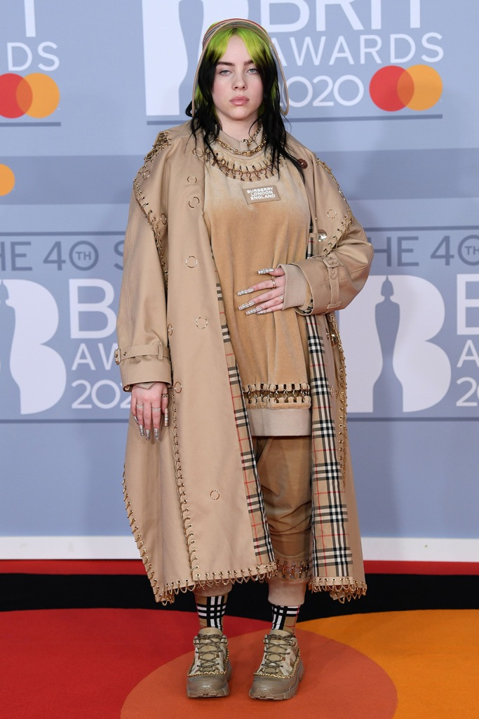 Billie Eilish, burberry outfit, sneakers, trench coat, 40th Brit Awards, Arrivals, Fashion Highlights, The O2 Arena, London, UK - 18 Feb 2020