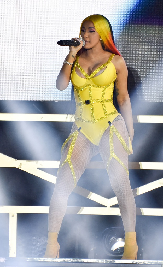 Cardi B, yellow bodysuit, fishnet tights, cleavage, yellow ankle boots, celebrity style, Vewtopia Music Festival, Day 2, Marlin's Park, Miami, USA - 01 Feb 2020