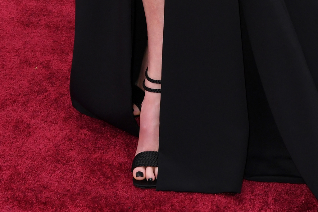 charlize theron, black nail polish, toes, red carpet, shoe detail , oscars 2020