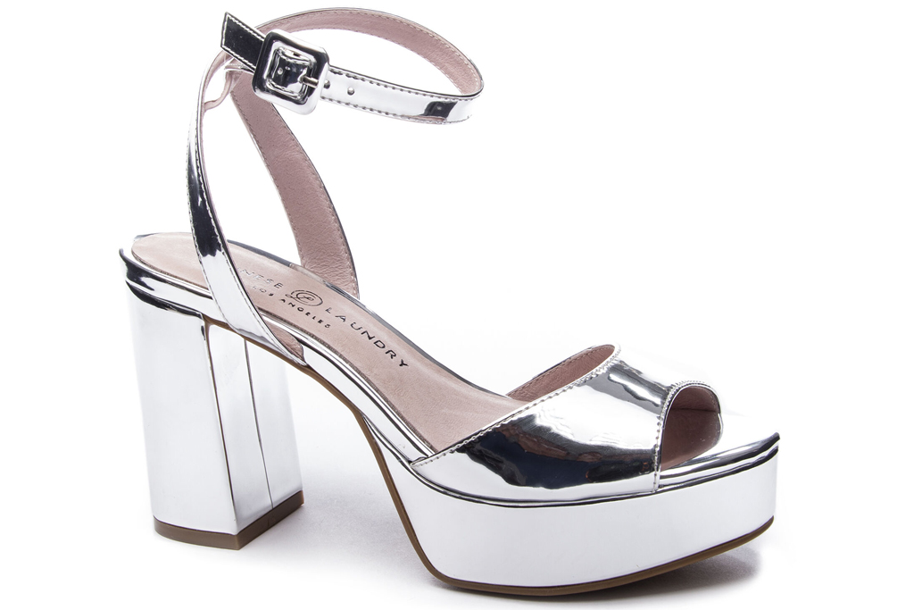Chinese Laundry, silver sandals, platforms
