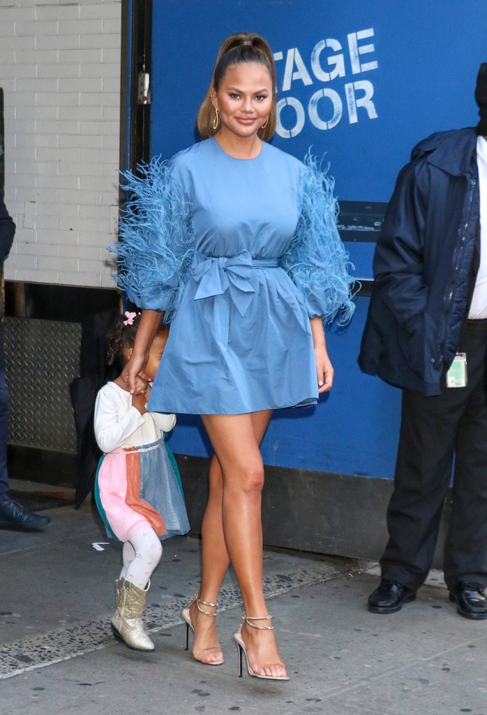 Chrissy Teigen, valentino dress, minidress, blue dress, alevi milano sandals, luna legend, cowgirl boots, and Luna Stephens'Strahan, Sara & Keke' TV show, New York, USA - 19 Feb 2020Wearing Valentino