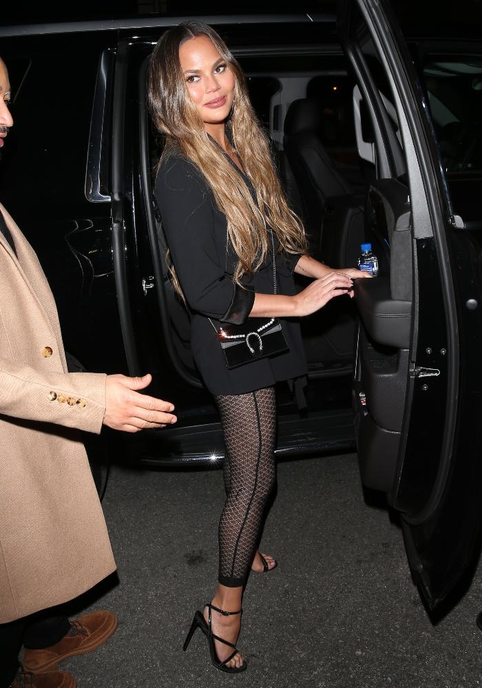 chrissy teigen, john legend, date night, black dress, leggings, heels