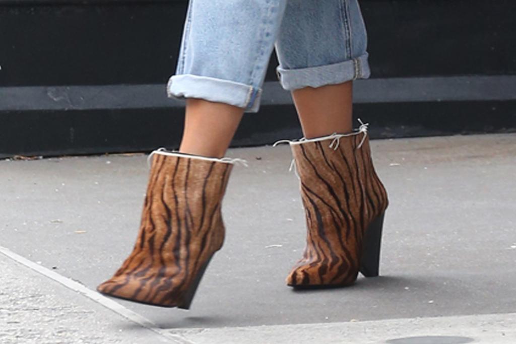 chrissy teigen, luna, western boots, tiger boots, birkin, purple jacket, jeans, yellow bag, nyc, new york