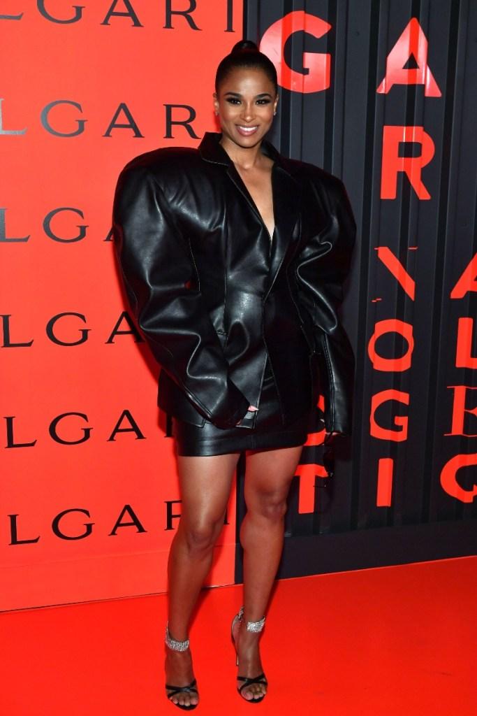 ciara, Bvlgari x B.Zero1 Rock Collection debut party, black dress, giuseppe zanotti heels