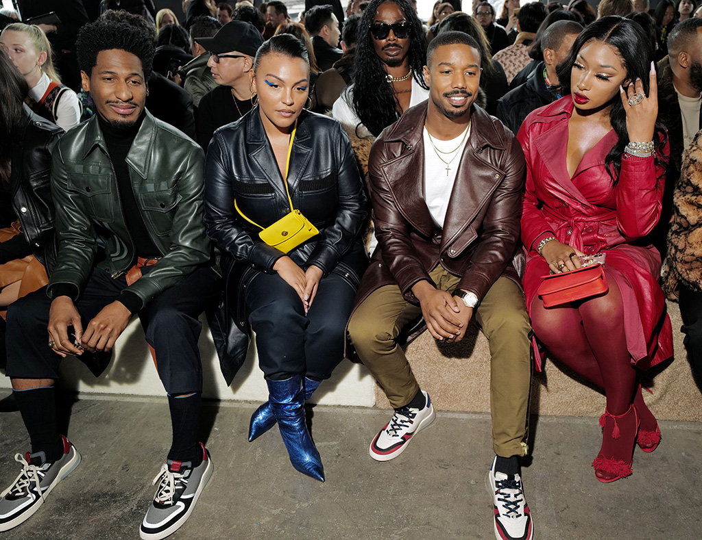 Jon Batiste, Paloma Elsesser, Michael B. Jordan and Megan Thee Stallion in the front rowCoach show, Front Row, Fall Winter 2020, New York Fashion Week, USA - 11 Feb 2020