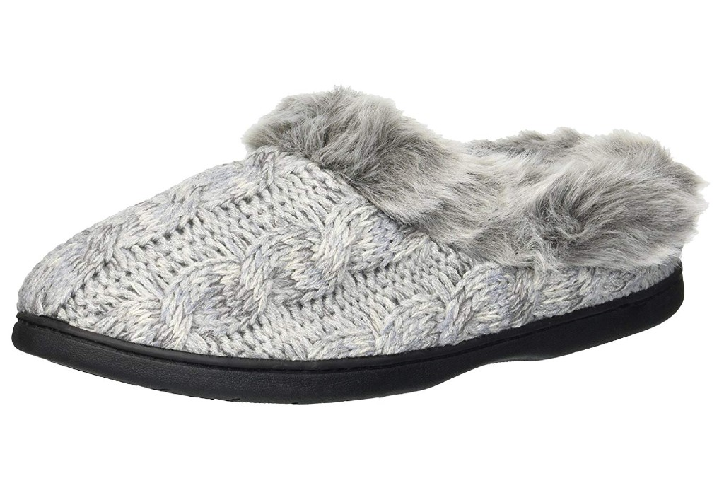 dearfoams cable knit slippers