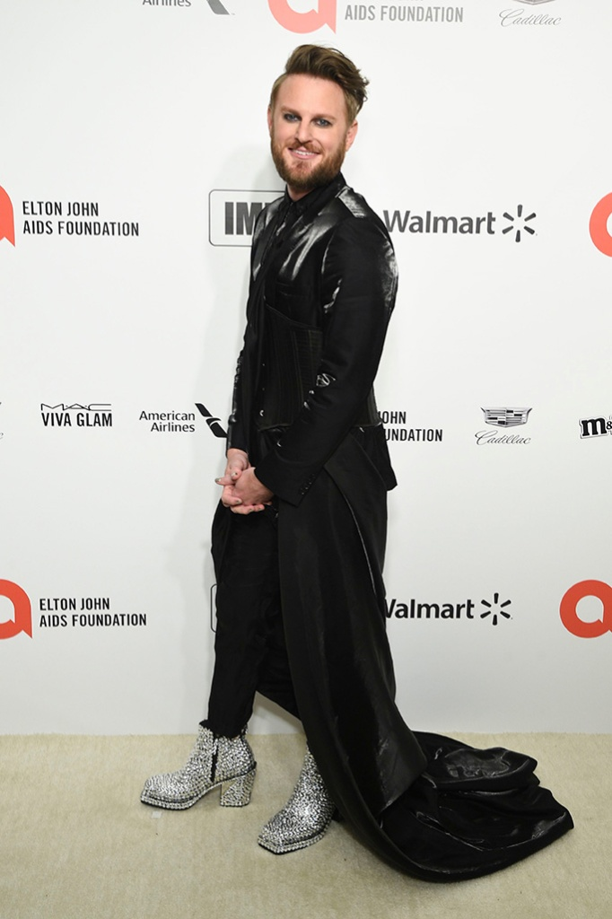 Bobby Berk, silver boots, heeled boots, train, black pants, Elton John AIDS Foundation Oscar Viewing Party, Los Angeles, USA - 09 Feb 2020