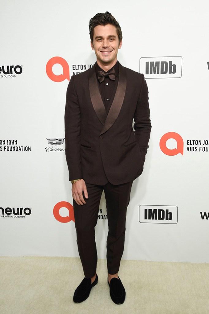Antoni Porowski, brown pantsuit, Elton John AIDS Foundation Oscar Viewing Party, Los Angeles, USA - 09 Feb 2020
