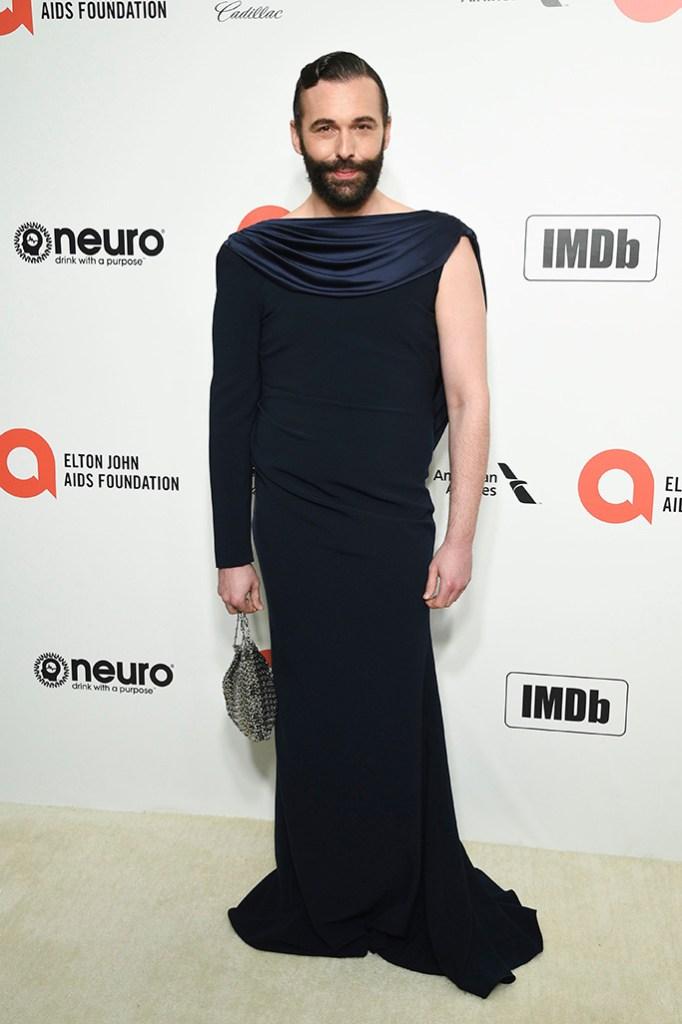 Jonathan Van Ness, blue gown, dress, silver bag, Elton John AIDS Foundation Oscar Viewing Party, Los Angeles, USA - 09 Feb 2020