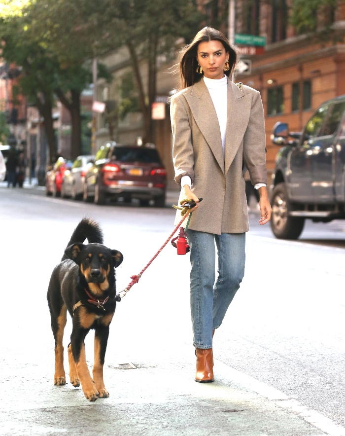 emily ratajkowski, walking dog, zara boots, brown boots, jeans