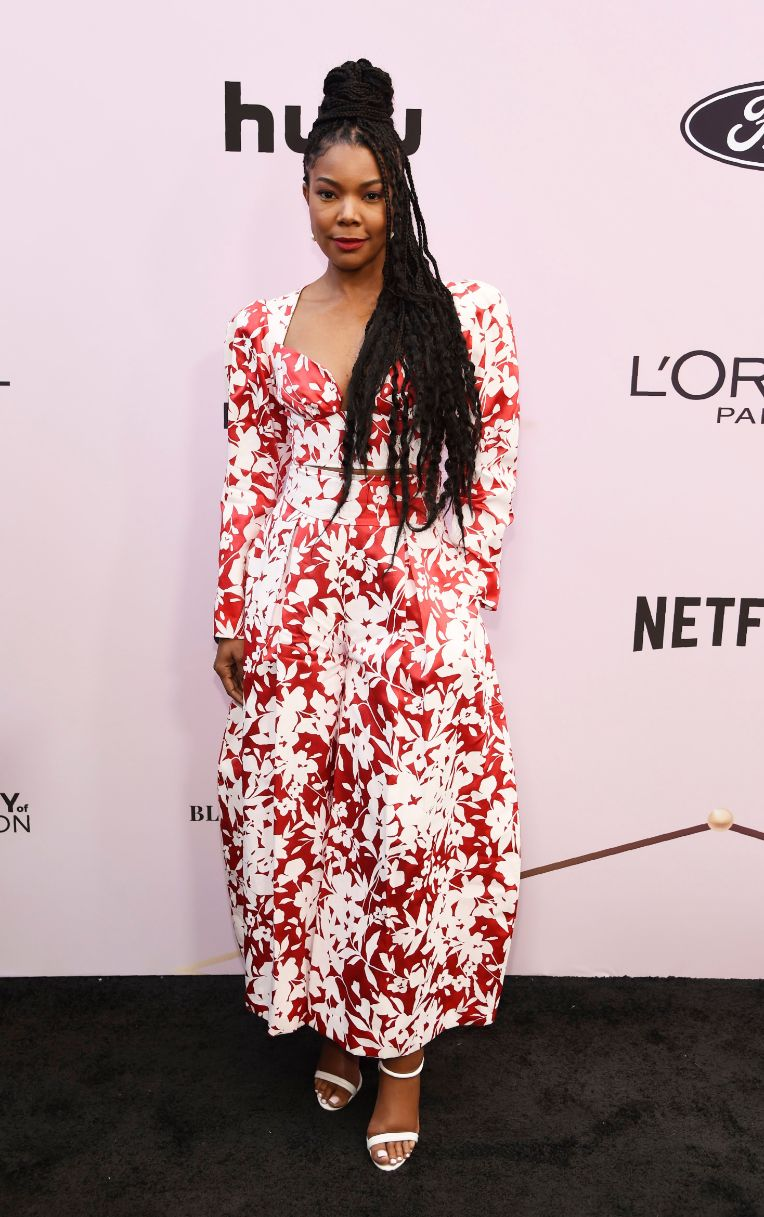 gabrielle union, essence, black women in hollywood awards, red dress, floral dress