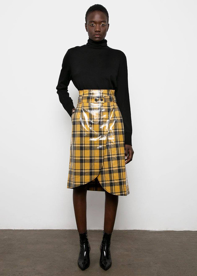 Ganni plaid skirt