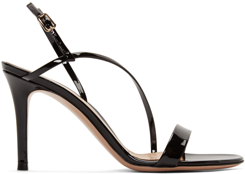 gianvito rossi, strappy black sandals, patent leather, heeled