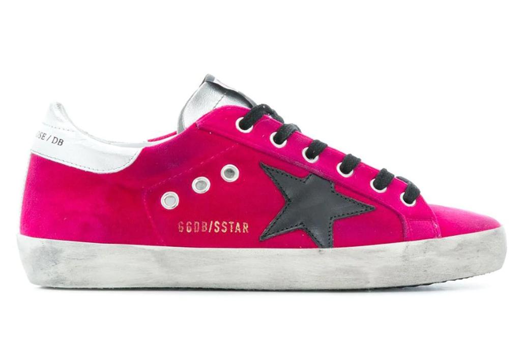 golden goose hot pink sneakers