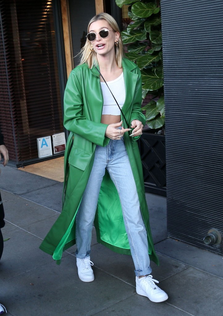 Hailey Baldwin, white crop top, tank top, abs, mom jeans, green coat, nike air force 1s, nike sneakers, celebrity style, Hailey BieberJustin Bieber and Hailey Bieber out and about, Los Angeles, USA - 18 Feb 2020