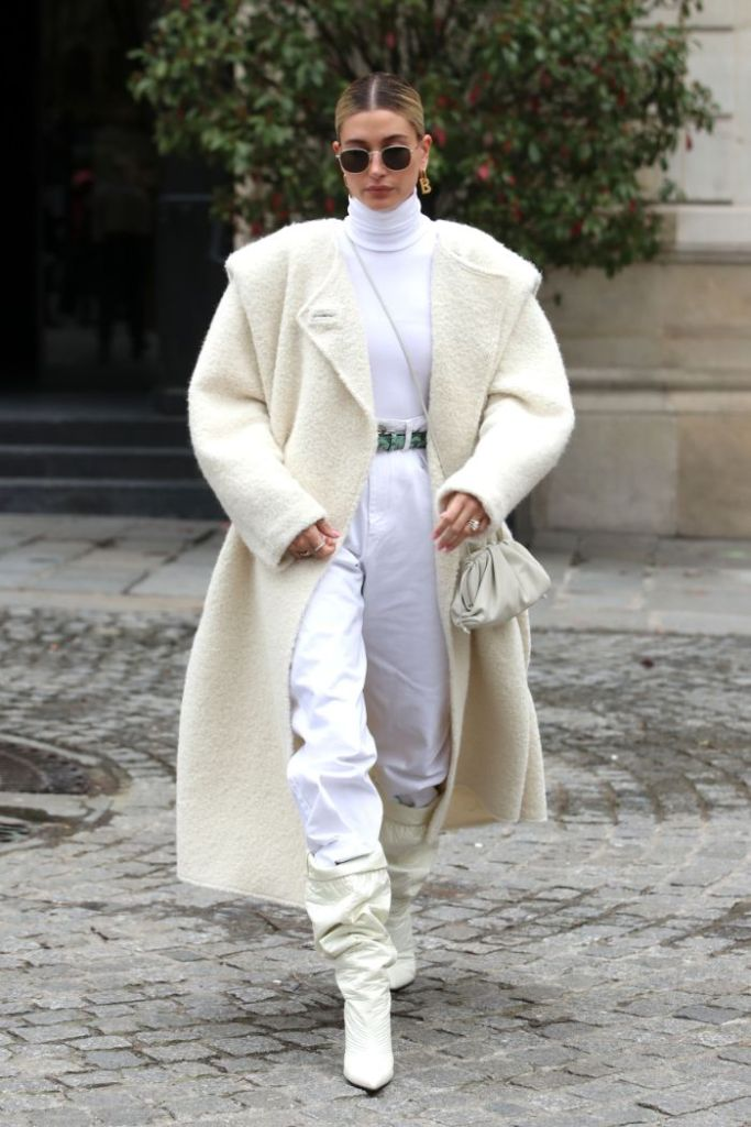 hailey baldwin, paris fashion week, pfw, white, all white, monochrome, white boots, pants, coat