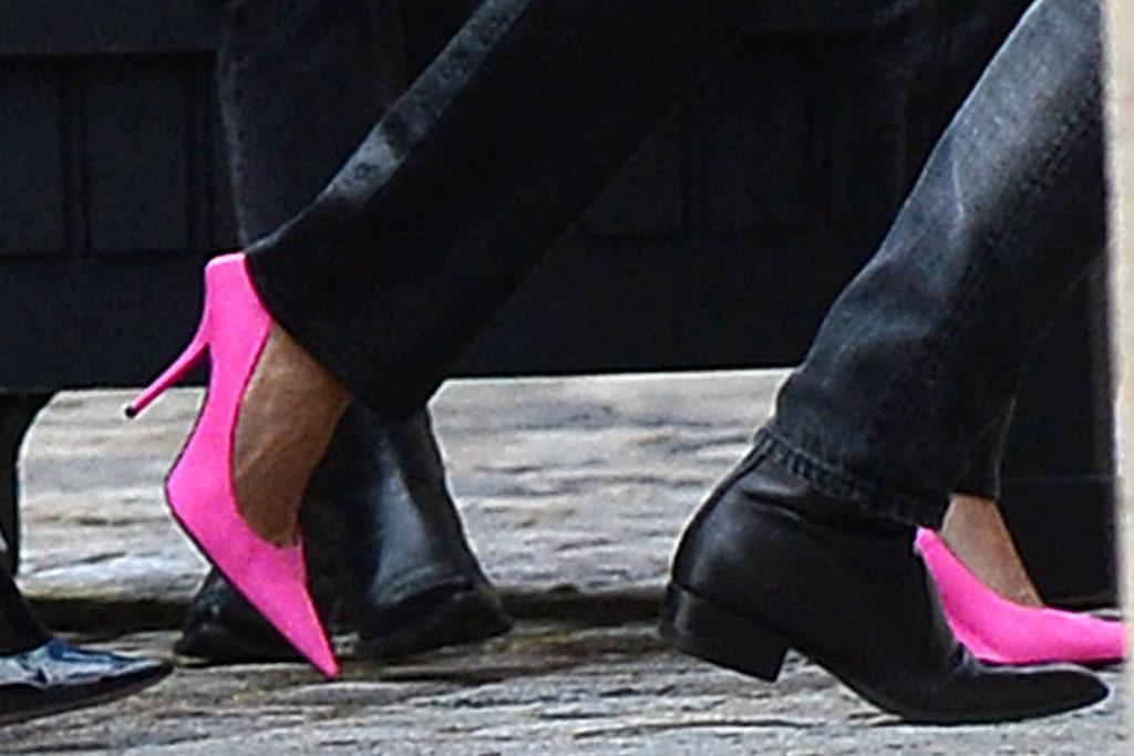 hailey baldwin, black, saks potts, pink heels, balenciaga, paris, pfw, pink
