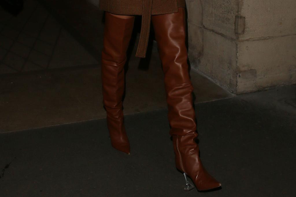 Hailey Baldwin, amina muaddi thigh high boots, celebrity style, street style, paris, pfw