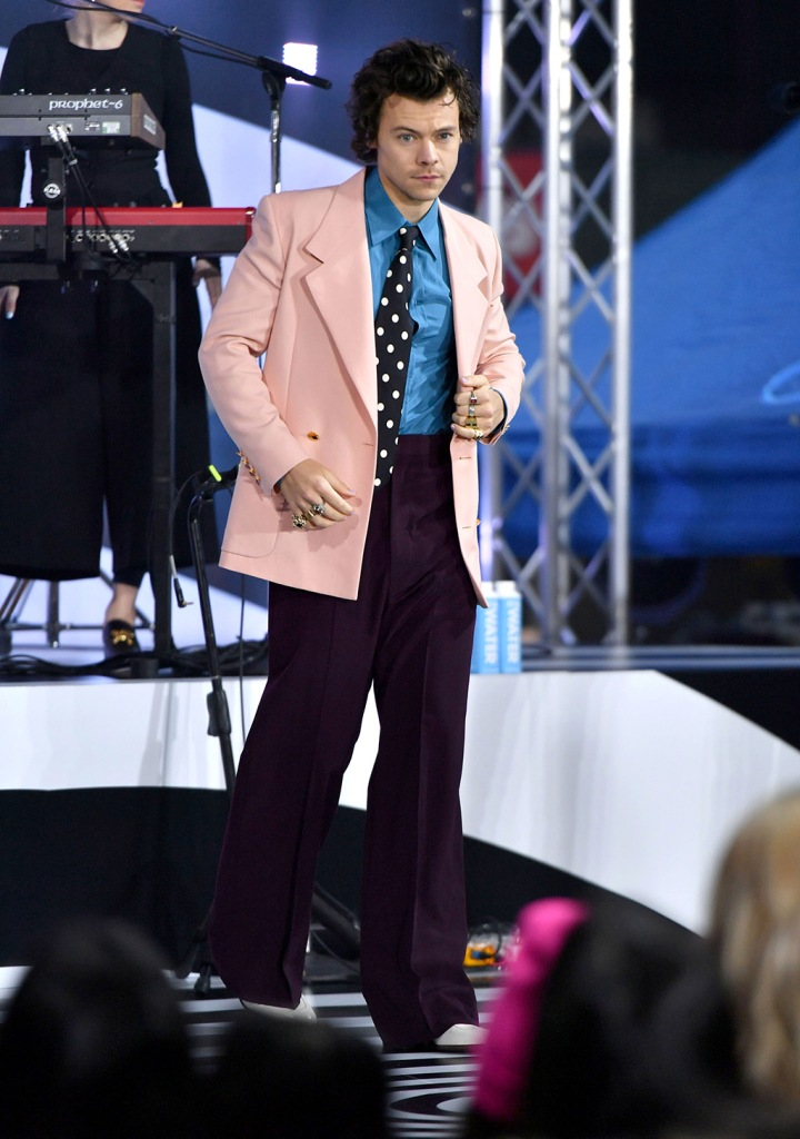 Harry Styles', gucci, suit, pink blazer, high-waisted trousers, Today' TV show, New York, USA - 26 Feb 2020