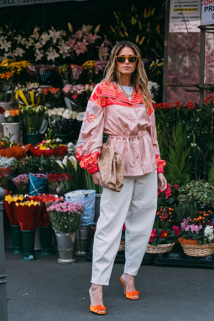 Helena Bordon , the attico, orange sandals, mules, street style, mfw, fall 2020