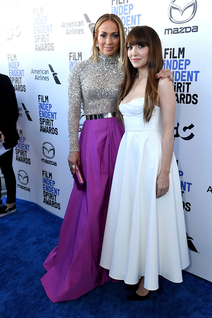 Jennifer Lopez, Lorene Scafaria. Jennifer Lopez, left, and Lorene Scafaria arrive at the 35th Film Independent Spirit Awards, in Santa Monica, Calif2020 Film Independent Spirit Awards - Red Carpet, Santa Monica, USA - 08 Feb 2020