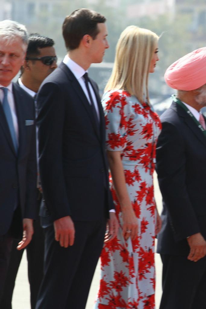 Ivanka Trump S Floral Proenza Schouler Dress Red Pumps Pop In India Footwear News