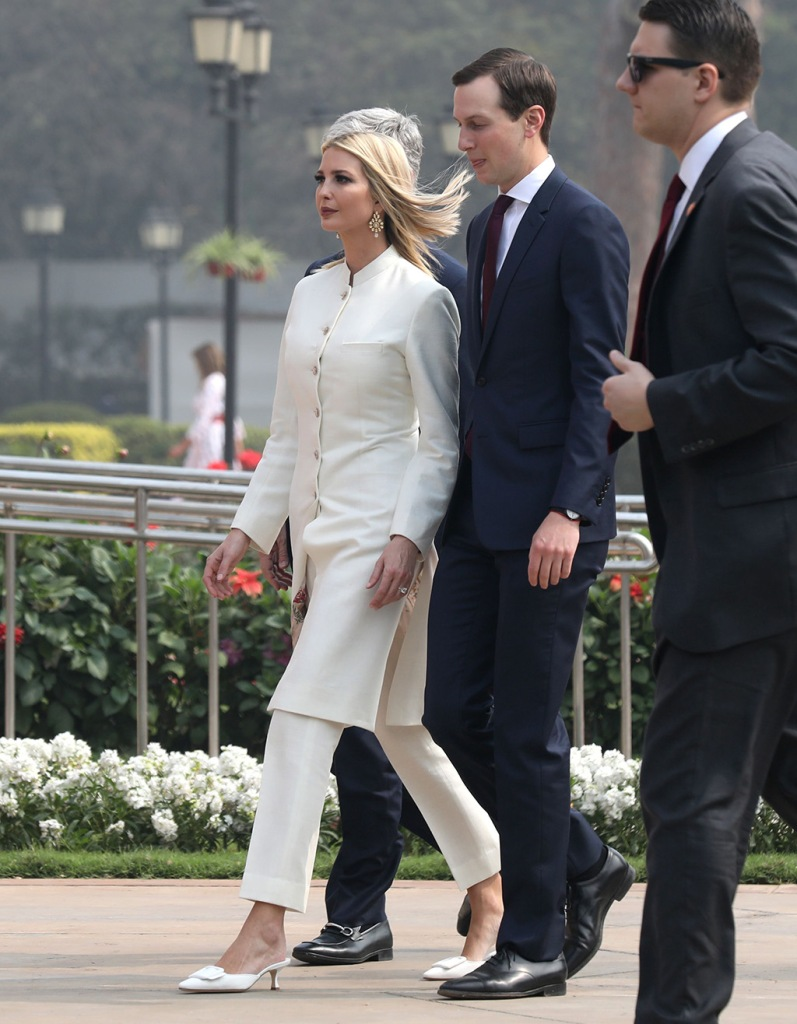 Ivanka Trump, shalwar kameez, manolo blahnik mules, white outfit, celebrity style, (L), the daughter and assistant to President Donald Trump, and White House Senior Adviser Jared Kushner (C) arrive for a meeting at Hyderabad House in New Delhi, India, 25 February 2020. US President Trump is on a two-day state visit to India, and will visit the three Indian cities of Ahemdabad, Delhi and Agra. Trump is scheduled to have the bilateral talks with top India leadership, and is expected to discuss intellectual property rights, defence deals, nuclear power cooperation.United States President Donald J. Trump visits India, New Delhi - 25 Feb 2020