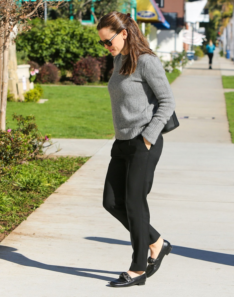 Jennifer Garner, chanel loafers, braided loafers, flat shoes, gray sweater, black pants, celebrity style, Jennifer Garner out and about, Los Angeles, USA - 02 Feb 2020