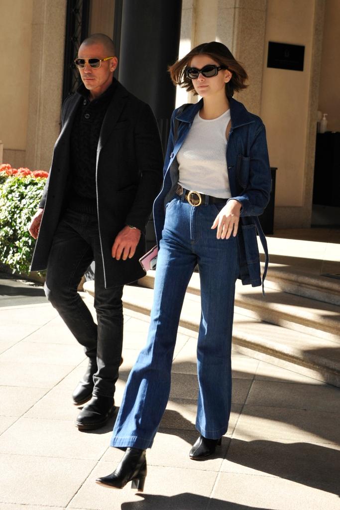 kaia gerber, reformation, by far sofia boots, milan fashion week street style