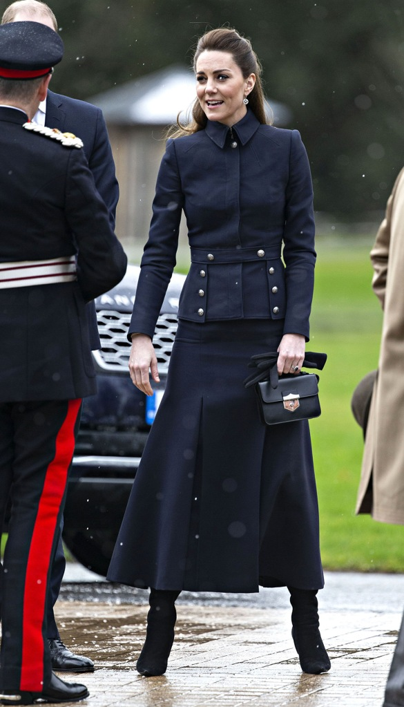 ate middleton, ralph lauren boots, alexander mcqueen handbag, alexander mcqueen coat, navy coat, black boots, Prince William and Catherine Duchess of Cambridge visit the Defence Medical Rehabilitation Centre Stanford Hall.British Royals visit to Leicestershire, UK - 11 Feb 2020The new Defence Medical Rehabilitation Centre, known as 'DMRC Stanford Hall', is operated by the Ministry of Defence (MOD) and began admitting patients in October 2018. The Centre delivers in-patient and residential rehabilitation to serving members of the Armed Forces for complex musculoskeletal disorders and injuries, including complex trauma, rehabilitation following neurological injury or illness and in-patient care for joint and soft-tissue disease.Catherine Duchess of Cambridge at the Defence Medical Rehabilitation Centre Stanford Hall.British Royals visit to Leicestershire, UK - 11 Feb 2020Wearing Alexander McQueen Bag By Alexander McQueen, Boots By Ralph Lauren