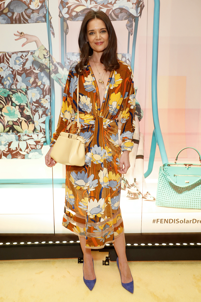Katie Holmes, fendi, spring 2020, midi dress, butter yellow handbag, celebrity style,