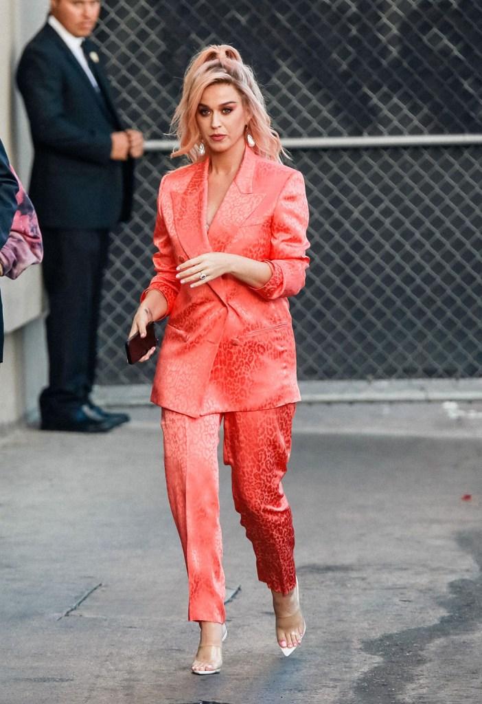 Katy Perry, dundas spring 2020, leopard print suit, peach suit, femme shoes gigi mules, clear shoes, celebrity fashion, 'Jimmy Kimmel Live' TV show, Los Angeles, USA - 12 Feb 2020