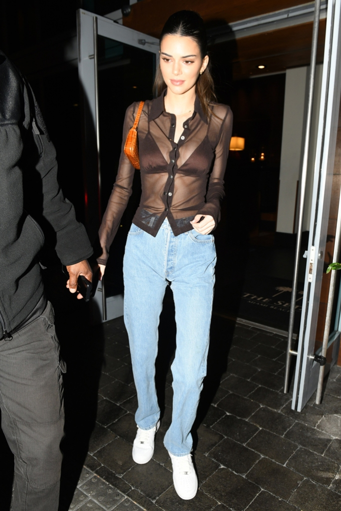Kendall Jenner, sheer blouse, bra top, mom jeans, nike air force 1s, by far bag, celebrity style, miami