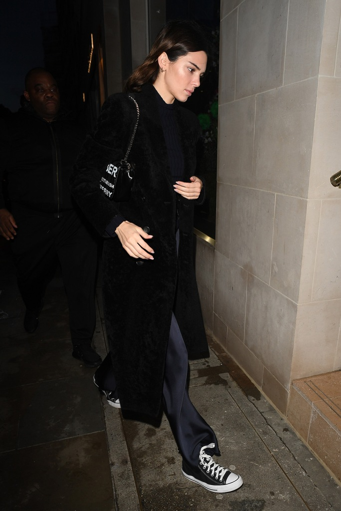 Kendall Jenner, converse sneakers, silky pants, celebrity style, lfw, Kendall Jenner out and about, London Fashion Week, UK - 16 Feb 2020