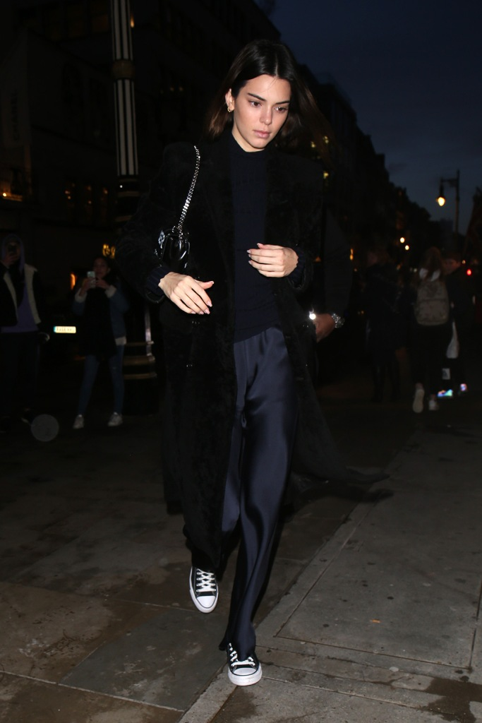 Kendall Jenner, converse sneakers, silky pants, celebrity style, lfw, Kendall Jenner out and about, London Fashion Week, UK - 16 Feb 2020Kendall JennerKendall Jenner out and about, London Fashion Week, UK - 16 Feb 2020
