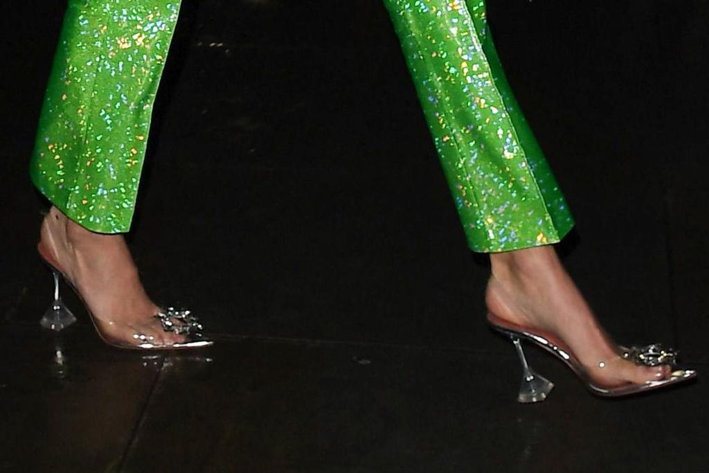 Amina Muaddi, kendall jenner, clear heels, shoe detail, celebrity style, pedicure,