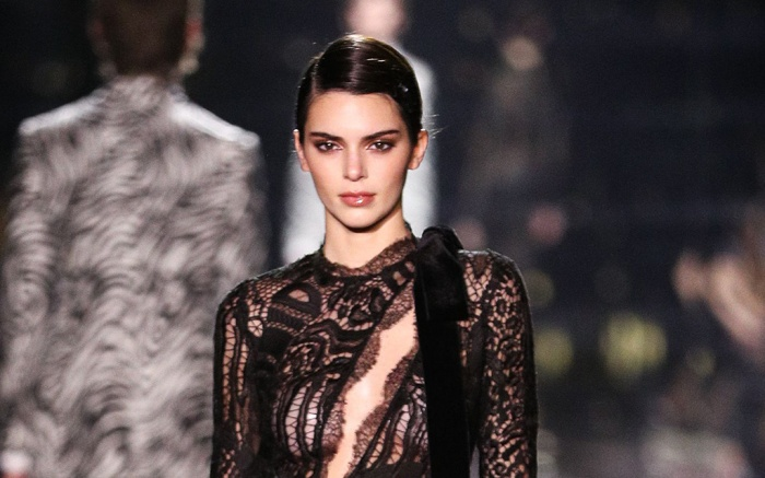 Kendall Jenner on the catwalkTom Ford show, Runway, Fall Winter 2020, Milk Studios, Los Angeles, USA - 07 Feb 2020