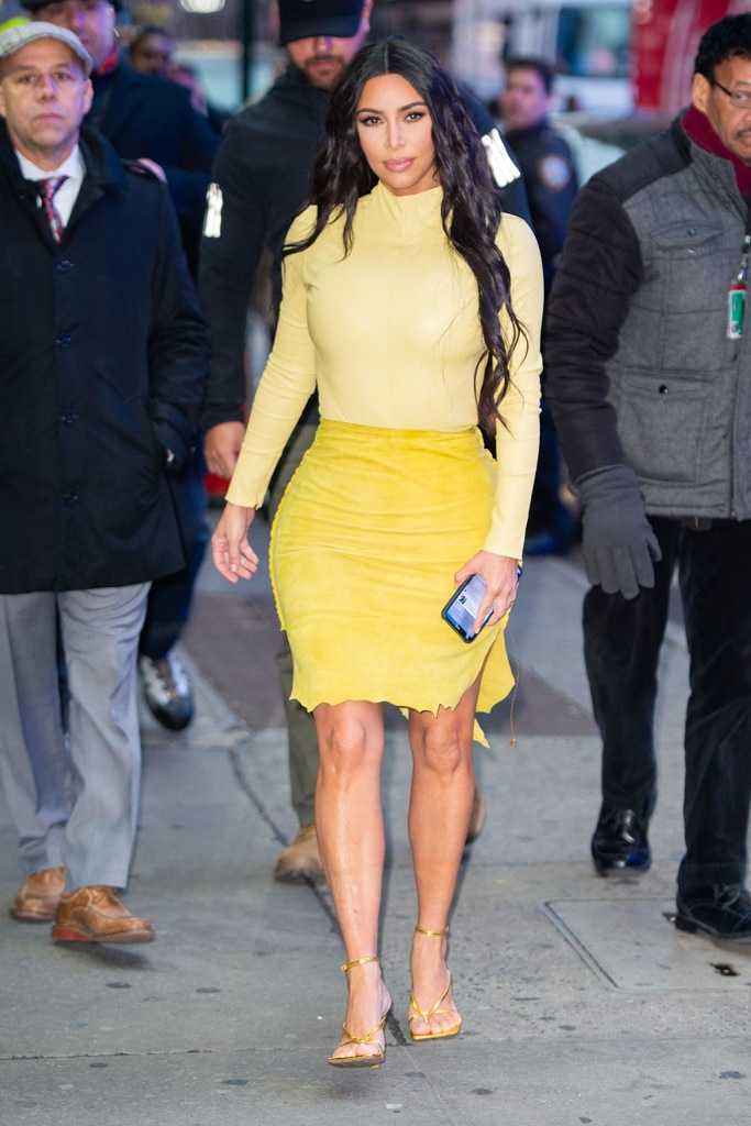 kim kardashian, gma, good morning america, celebrity style, yellow shirt, yellow skirt, bottega veneta sandals, high heeled thong sandals, square toes, Reality Mega Star Kim Kardashian West pictured as she stylishly arrives at Good Morning America in New York City, NY, USA.Pictured: Kim Kardashian WestRef: SPL5145938 050220 NON-EXCLUSIVEPicture by: SplashNews.comSplash News and PicturesLos Angeles: 310-821-2666New York: 212-619-2666London: +44 (0)20 7644 7656Berlin: +49 175 3764 166photodesk@splashnews.comWorld RightsReality Star Kim Kardashian pictured as she arrives at Good Morning America in New York City, NY, USA.Pictured: Kim KardashianRef: SPL5145936 050220 NON-EXCLUSIVEPicture by: SplashNews.comSplash News and PicturesLos Angeles: 310-821-2666New York: 212-619-2666London: +44 (0)20 7644 7656Berlin: +49 175 3764 166photodesk@splashnews.comWorld Rights