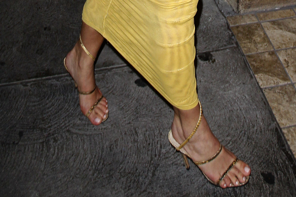 Kim Kardashian, gold sandals, strappy sandals, celebrity style, street style, shoe detail, los angeles, pedicure, feet
