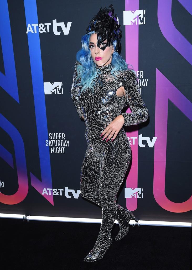 Lady Gaga, catsuit, silver , disco ball outfit, silver boots, blue wig, headpiece, celebrity style, AT&T Super Saturday Night Concert, Arrivals, Miami, USA - 01 Feb 2020