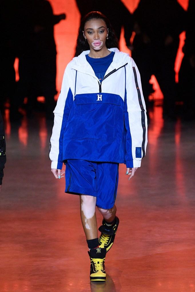 Winnie Harlow, tracksuit, sneakers, runway, on the catwalkTommy Hilfiger show, Runway, Fall Winter 2020, London Fashion Week, UK - 16 Feb 2020
